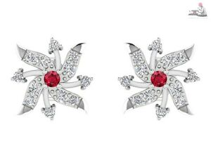 0.28CT Natural DIAMOND Ruby 14kt real white gold Stud Earrings For Wedding