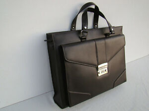 GOLDPFEIL NEW DARK BROWN SOFT LEATHER BRIEFCASE  ATTACHÉ HANDBAG-FROM GERMANY