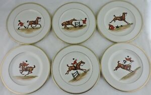 ABERCROMBIE FITCH VINTAGE EQUESTRIAN HORSEJOCKEYFUN SALAD PLATE SET 6 SIGNED