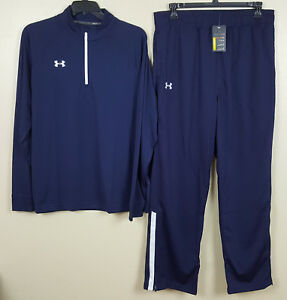 UNDER ARMOUR WARM UP SUIT 12 ZIP TOP SHIRT +PANTS NAVY BLUE WHITE NEW (SIZE XL)