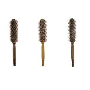 Wooden Round Hairbrush Salon Styling Dressing Curly Boar Bristle Brush Comb