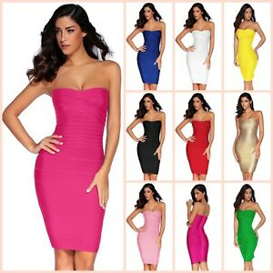 Bandage Bodycon Dress Evening Cocktail Party Mini Short Strapless Dresses Womens