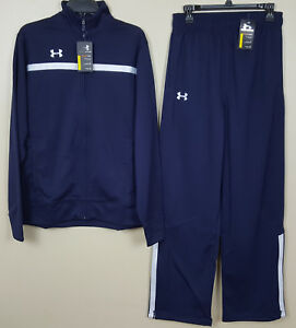 UNDER ARMOUR BASKETBALL WARM UP SUIT JACKET + PANTS NAVY BLUE NEW (SIZE SMALL)