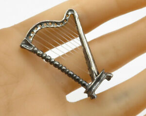 925 Sterling Silver - Vintage Petite Harp Instrument Decorative Item - T1126