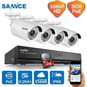 SANNCE POE 1080P 4CH NVR 2MP Security IP Camera System Outdoor 4TB Surveillance