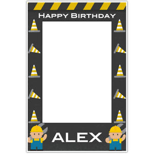 Yellow and Grey Construction Birthday Selfie Frame Poster