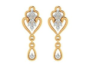 0.26CT Certified DIAMOND 14k yellow gold Drop earrings Jewelry Gift For Wedding