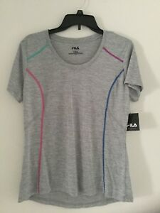 FILA SPORT Women's athletic gym fitness T-shirt  Top * NWT* Large* Gray -TRU DRY