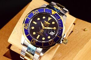 3049 Invicta 47mm Grand Diver Blue Dial GoldTone AUTOMATIC Silver Bracelet Watch