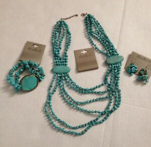 Studio S  6 Row Blue Stone necklace Bracelet Earring Set turquoise ( B223)