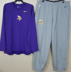 NIKE MINNESOTA VIKINGS DRI-FIT SHIRT +SWEATPANTS PURPLE GREY NEW RARE (SIZE 4XL)