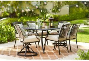 Outdoor Patio Dining Set 7-Piece Powder Coated Rust Weather Resistant