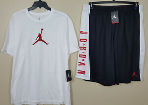 NIKE AIR JORDAN DRI-FIT OUTFIT SHIRT +SHORTS WHITE RED BLACK RARE NEW (SIZE 4XL)