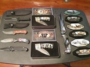 Huge Knife Lot Hunting Fishing Camping Collectible Deer Eagle America