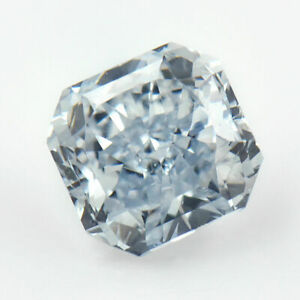 0.55Ct Sparkling Fancy Blue Diamond Classic Radiant Cut Natural VVS1 Clarity GIA
