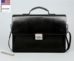 High Grade Mens Leather Briefcase Messenger Business File Password Crossbody bag