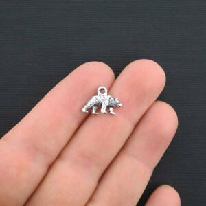 10 Bear Charms Antique Silver Tone Small Sized SC3246 $3.99