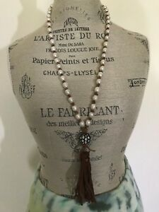 New Handmade Freshwater Pearl Leather Tassel Rhinestone Ball Long Necklace