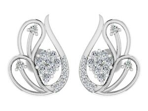 14k white gold 0.32CT Certified DIAMOND Stud earrings Wedding Jewelry For Womens