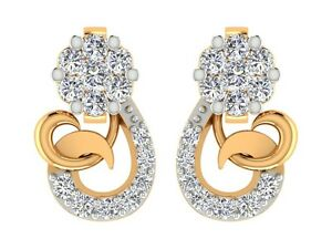 0.23CT Natural DIAMOND Stud earrings 14k yellow real gold Jewelry For Wedding