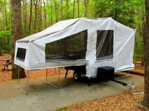 2018 Motorcycle Camping Trailer used to Pull Behind Camper Tow Travel PopUp Tent
