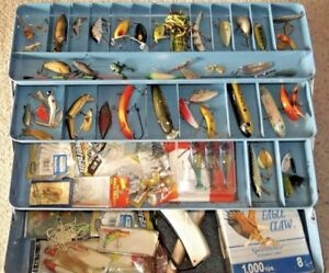 Vintage Steel Union Tackle Box 100+ Fishing Lures Spinners Spoons Rebel Rapala
