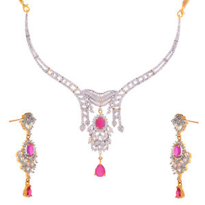 Cubic Zirconia ethinci pink  colour necklace set  for weddings for women