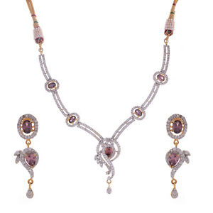 Cubic Zirconia ethinci brown colour necklace set  for weddings for women