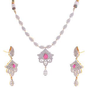 Cubic Zirconia Jewellery Ethnic necklace set for weddings for women and girls