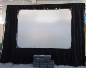 Da-Lite 9 x 12 Fast Fold Projector screen w Front Screen & rear +Dress Kit