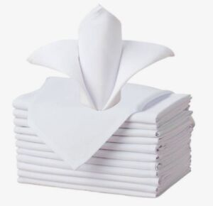 50 cotton restaurant dinner cloth linen napkins white 20''x20'' wedding grade!!
