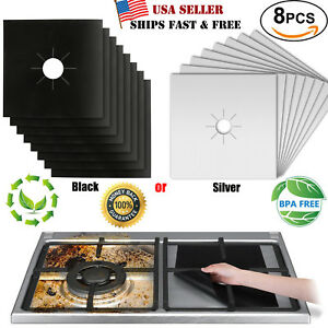 8 Gas Range Stove Top Burner Protector Reusable Non-stick Cover Liner Clean Cook