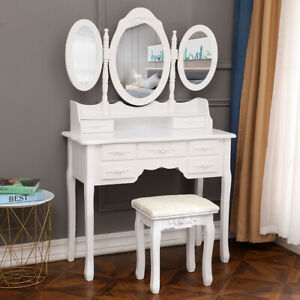 Tri-Folding Mirror Vanity Set Makeup Table 7 Drawers Bedroom Dressing Desk Wood