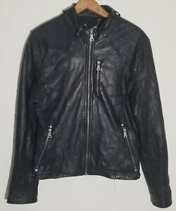 Men's GUESS Leather JACKET Casual Motorcycle COAT Size Small Black perforated LA