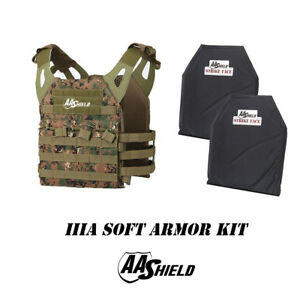 AA Shield Molle Lightweight Military Tactical Vest IIIA Soft Armor Kit MARPAT