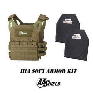AA Shield Molle Lightweight Military Tactical Vest Lvl IIIA Soft Armor Kit FG