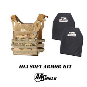 AA Shield Molle Lightweight Military Tactical Vest IIIA Soft Armor KitMULTICAM