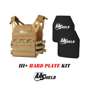 AA Shield Molle Lightweight Military Tactical Vest III Rifle Plate KitCOYOTE