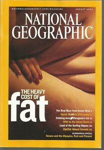 National Geographic August 2004 Fat Squid Patagonia#x27;s Ice Hippos Greece Olympics