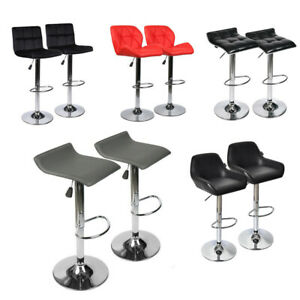 Set of 2 Bar Stools Leather Velvet Adjustable Swivel Hydraulic Counter Pub Chair