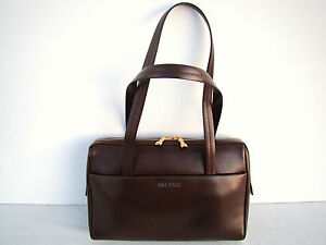 NEW GOLD PFEIL  RARE BURGUNDY LEATHER HANDBAG OXFORD LINE - HANDMADE IN GERMANY