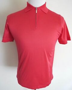 $595 BRIONI Slim Fit Brushed Cotton Coral Color 12 Zip T-Shirt Shirt Size Small