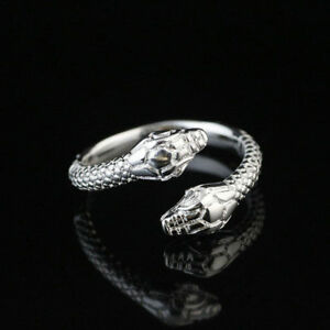 Women Men 925 Silver Plated Snake Open Ring Fashion Jewelry Wedding Engagement