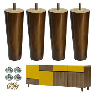 Wood Furniture Legs Sofa Legs Set of 4 Walnut Finished 6 inch Replacement Feet