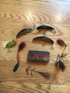 Vintage Fishing Lures Lot of(7) wMetal Pork Rind Case Poppers Flat Fish Rooster