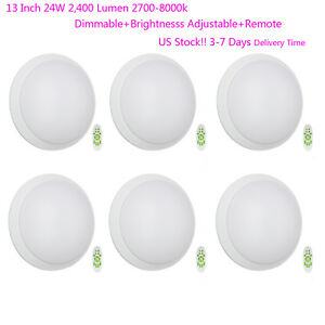 Living Room Remote Dimmable LED Ceiling Light 13in 2400LM Surface Mounted 6Pack