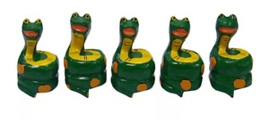 Rolled up snakes wood sculptures set with 5 pieces Handmade Brazilian Art $70.10