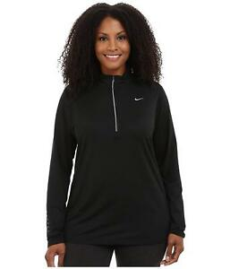 NIKE Womens Plus Dry Element Running Fitness Pullover Top Black3X 4802-3