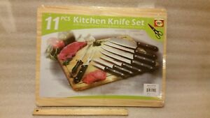 Star Crafts 11 pcs Kitchen Knife Set with Natural Wood Cutting Board