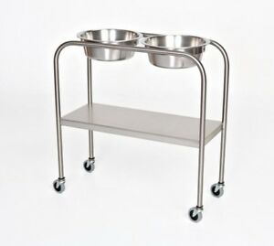 AC742 | Stainless Steel Solution/Ring Stand: Double 7qt Basins with Bottom Shelf